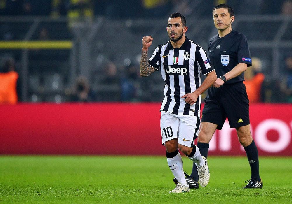 El argentino Carlos Tévez de la Juventus FC celebra su gol ante Borussia Dortmund. Foto: EFE