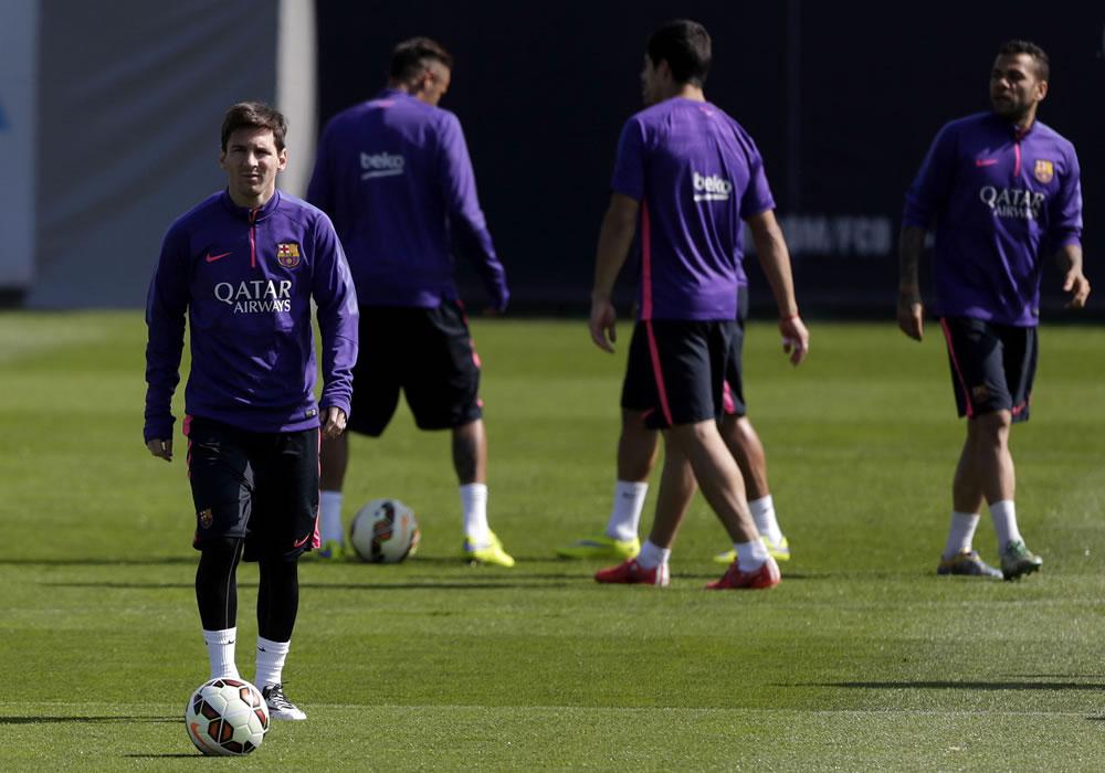 El delantero argentino del FC Barcelona, Leo Messi, durante el entrenamiento que el equipo azulgrana. Foto: EFE