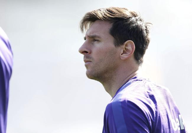 El jugador argentino del FC Barcelona Leo Messi, durante el entrenamiento del equipo. Foto: EFE