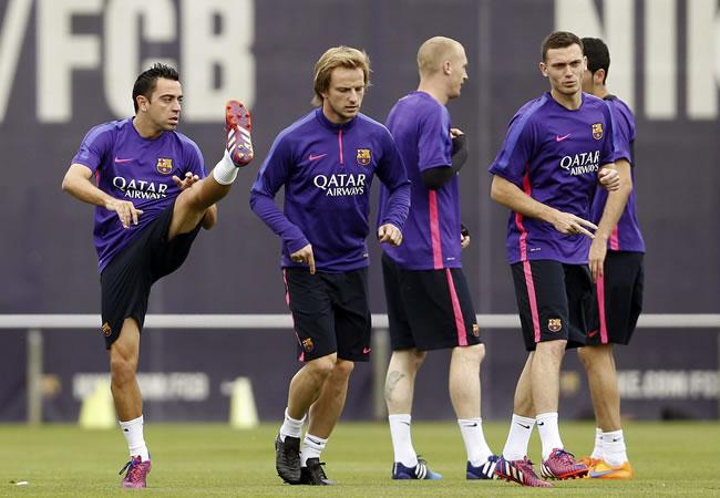 Entrenamiento del FC Barcelona en la ciudad deportiva Joan Gamper, en la víspera del partido de liga que les enfrenta al Córdoba. Foto: EFE