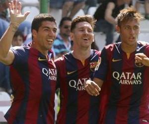 Doblete de Messi y tripleta de Suárez con el Barcelona