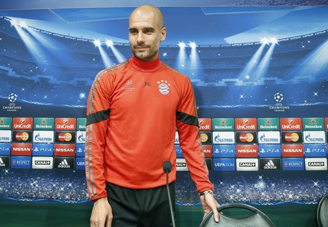El DT del Bayern de Múnich, Pep Guardiola, en rueda de prensa previo ante Barcelona. Foto: EFE