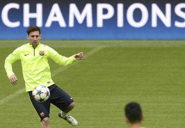 El delantero argentino del FC Barcelona, Lionel Messi, entrena con el equipo en Múnich, Alemania. Foto: EFE