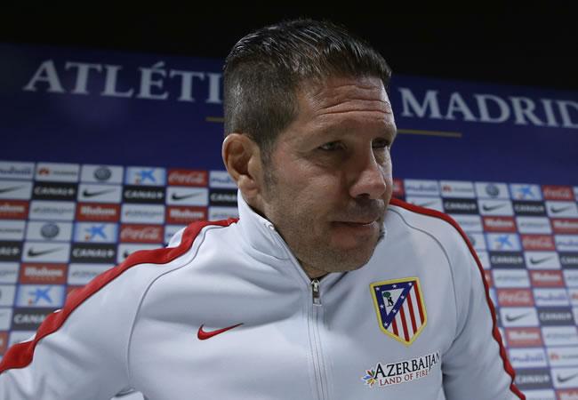 El técnico del Atlético de Madrid, el argentino Diego Pablo Simeone, durante la rueda de prensa. Foto: EFE