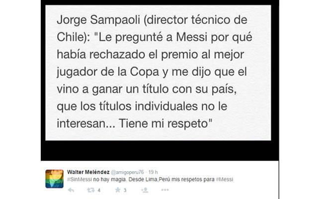 Apoyo a Messi en Twitter: Foto: @Twitter