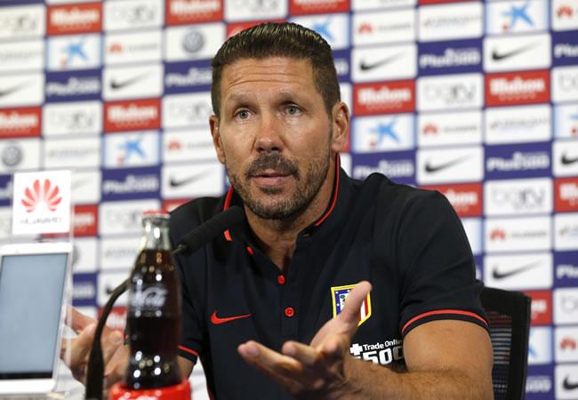 El DT del Atlético de Madrid, el argentino Diego Simeone, durante la rueda de prensa antes de enfrentar a Las Palmas. Foto: EFE