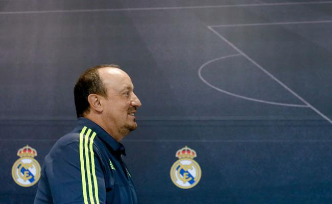 El entrenador del Real Madrid, Rafa Benítez, durante la rueda de prensa que ha ofrecido en Valdebebas. Foto: EFE