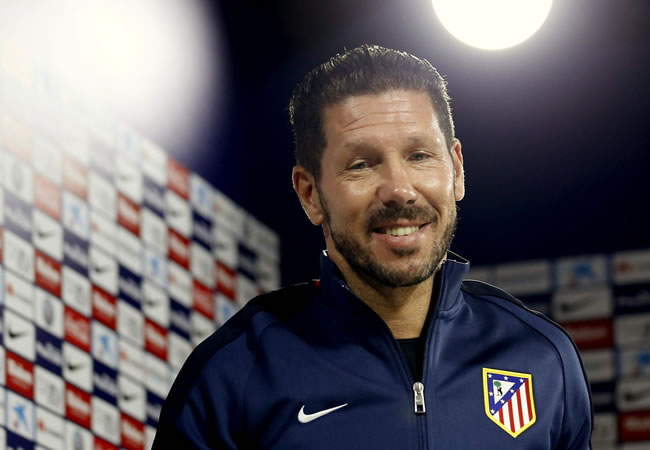 El entrenador del Atlético de Madrid, el argentino Diego Simeone, durante la rueda de prensa. EFE