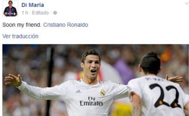 Este es el falso mensaje de Di María a Cristiano Ronaldo. Foto: Facebook