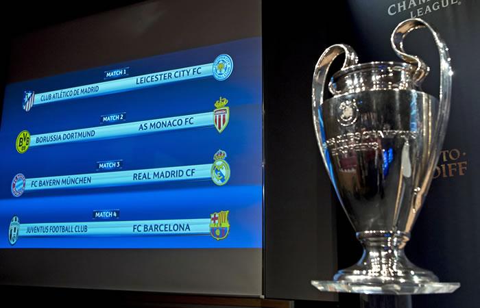 Así quedaron los encuentros de los cuartos de final de la Champions League. Foto: EFE