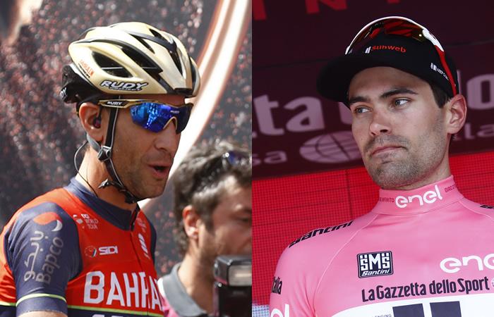 Vicenzo Nibali y Tom Dumoulin. Foto: AFP