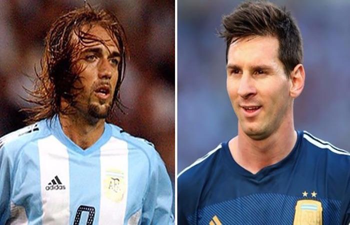 Gabriel Omar Batistuta y Lionel Messi. (AFP). Foto: AFP