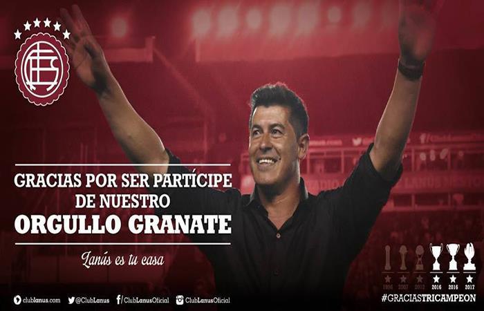 Jorge Almirón se despidió homenajeado por la histórica campaña junto a Lanús. (FOTO: Facebook Lanús)