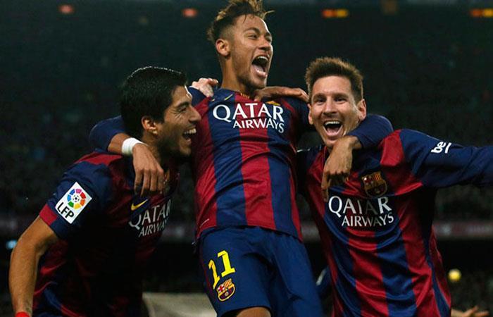 Neymar, Messi y Suárez juntos en el Barcelona. Foto: AFP