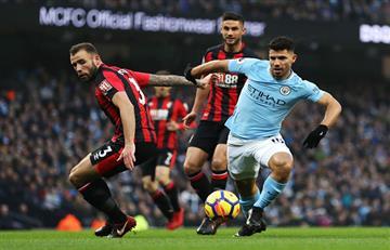 Con doblete de Agüero, el City goleó 4-0 al Bournemouth por la Premier League