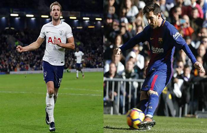 Harry Kane y Lionel Messi. Foto: AFP