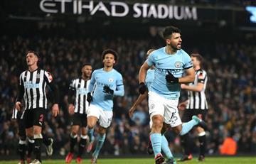 Con triplete de Sergio Agüero, el City ganó 3-1 al Newcastle