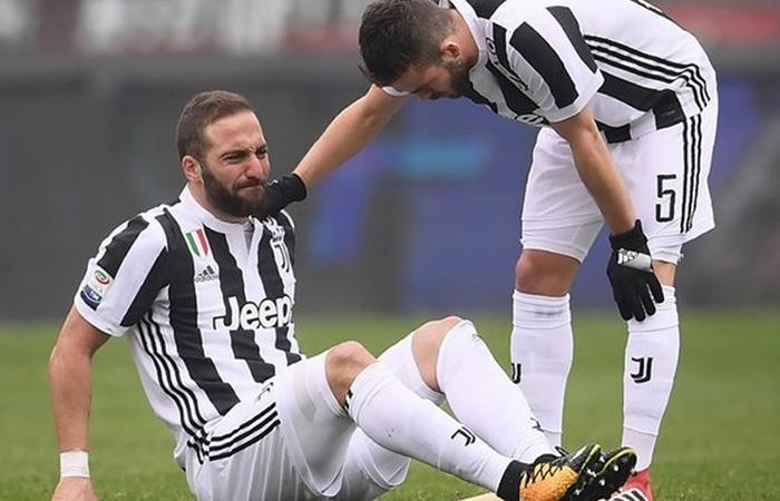 La lesión de Gonzalo Higuaín es de esguince de tobillo. Foto: Twitter