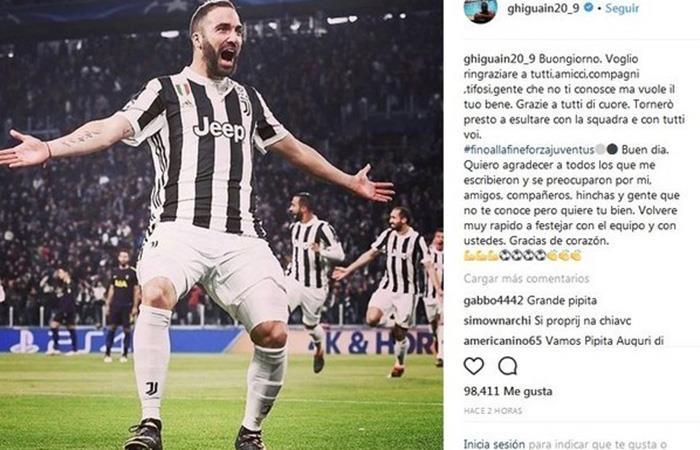 El mensaje de Gonzalo Higuaín a través de su cuenta oficial de Instagram tras su lesión que sufrió en el tobillo. Foto: Instagram