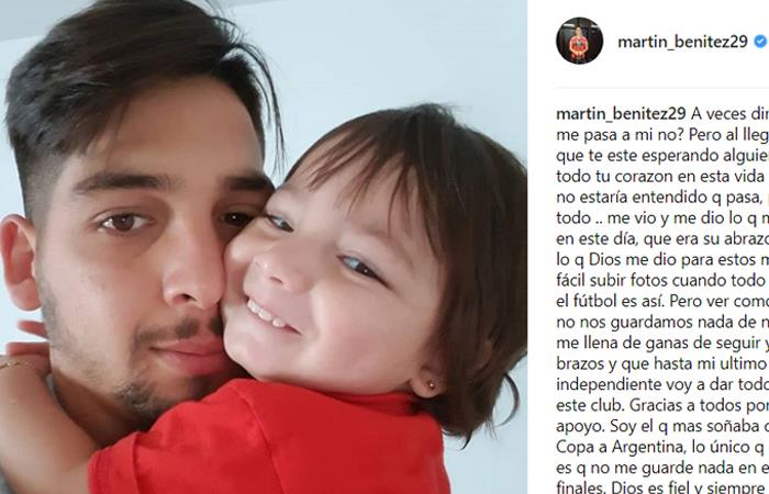 La carta de MArtin Benítez dirigida a los hinchas de Independiente tras fallar el penal (Foto: Instagram)