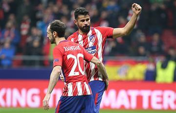 Atlético de Madrid puso un pie y medio en cuartos de final al golear al Lokomotiv