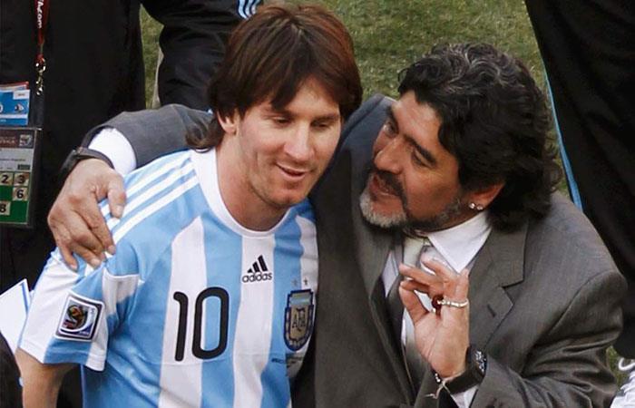 Diego Armando Maradona y Lionel Messi. (FOTO: AFP)
