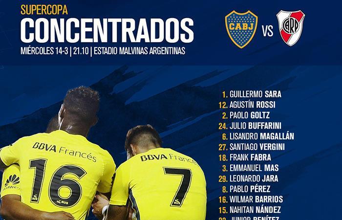 Boca definió a los 20 jugadores que se encargarán de ganar la Supercopa Argentina cuando enfrenten a River (Foto: Twitter)