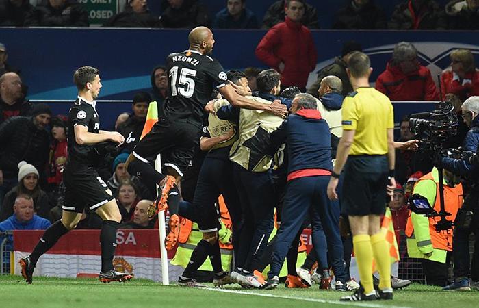Sevilla eliminar al Manchester United y ya está en los cuartos final de la Champions. Foto: Twitter
