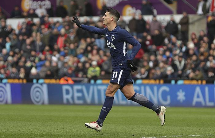 Erik Lamela celebra su gol. (AFP)
