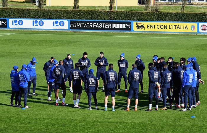 La Selección de Italia ya se prepara para recibir a la Argentina en Manchester. Foto: Twitter