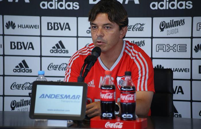 Marcelo Gallardo brindó una conferencia de prensa. Foto: Twitter