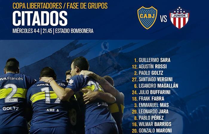 Boca recibe a Junior este miércoles a partir de las 21:45 en la Bombonera (Foto: Twitter)