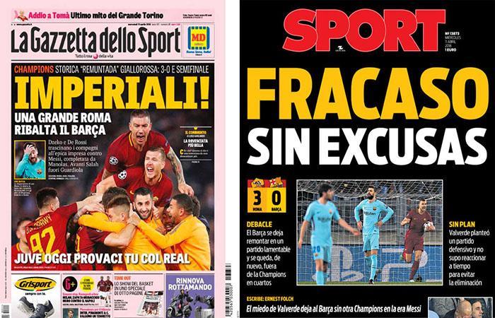 Las reacciones del mundo ante el triunfo de la Roma sobre el Barcelona. (). Foto: EFE