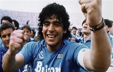 Diego Armando Maradona y su alegría por el triunfo del Napoli