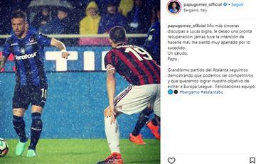 'Papu' Gómez se pronunció sobre la falta con Lucas Biglia
