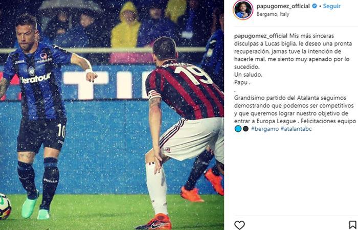 Papu Gómez se disculpó con Biglia a través de su cuenta oficial de Instagram. Foto: Instagram