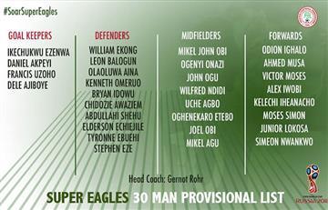 Selección Argentina: Nigeria dio a conocer a 30 convocados para el mundial