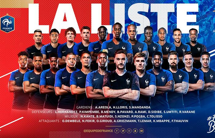 Selección de Francia anunció la lista de 23 definitiva de cara al Mundial. Foto: Twitter
