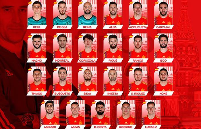 La Selección de España anunció su lista de 23 definitiva de cara al Mundial de Rusia 2018. Foto: Twitter