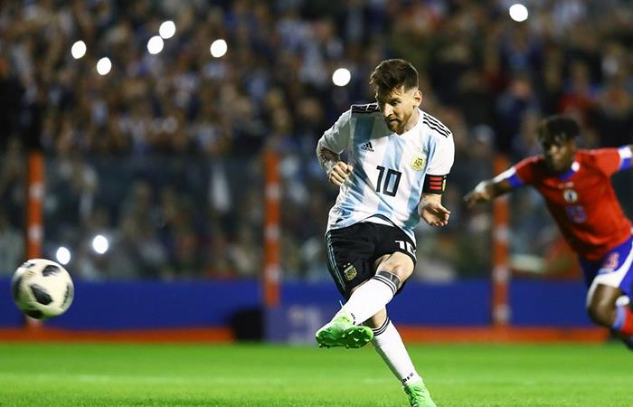 Lionel Messi marcó un hat trick ante Haití en la despedida de la Selección (Foto: Twitter)