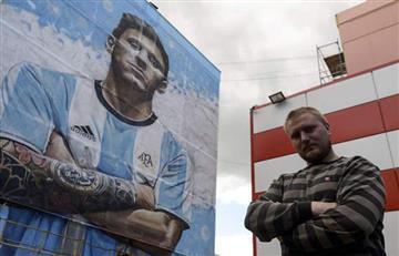 Lionel Messi: el mural gigantesco de 'La Pulga' en Rusia