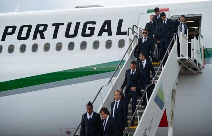 Con Cristiano Ronaldo a la cabeza, Portugal llegó a Rusia. Foto: Twitter