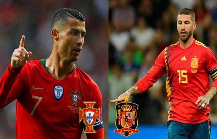 Compañeros en el Real Madrid, rivales en el Mundial, Cristiano Ronaldo y Sergio Ramos en un duelo aparte. (FOTO: EFE y AFP)