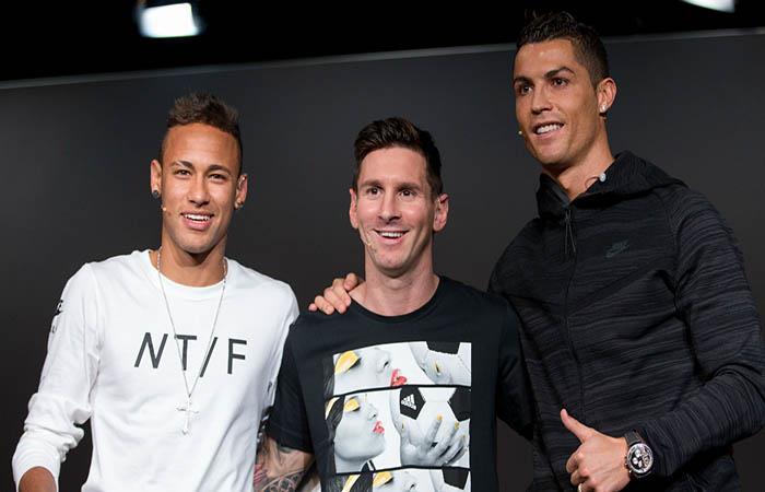Neymar, Lionel Messi y Cristiano Ronaldo. Foto: AFP