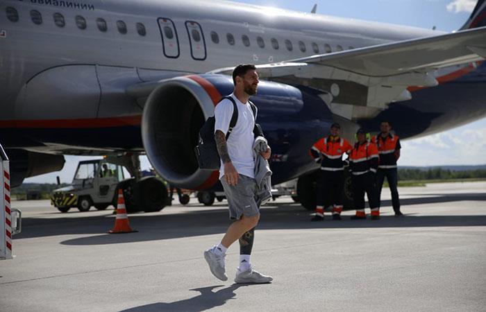 La Selección Argentina llegó a Nizhni Novgorod con Lionel Messi a la cabeza. (FOTO: Twitter)