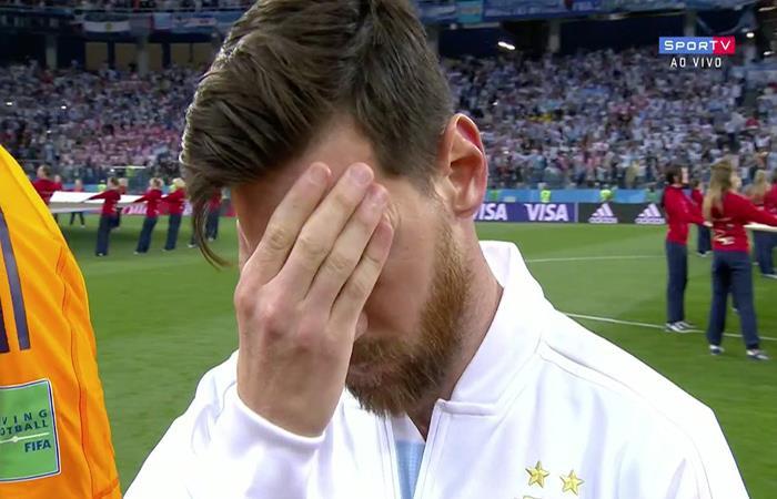 El rostro de Lionel Messi durante el himno nacional argentino. Foto: Twitter