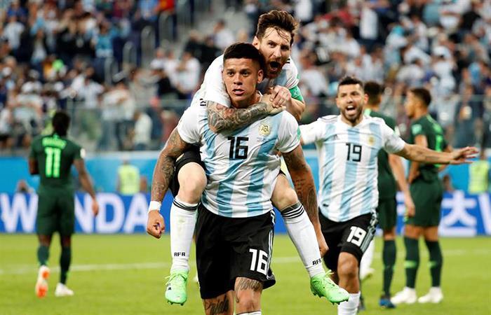Marcos Rojo y el agónico triunfo para la Argentina. Foto: EFE