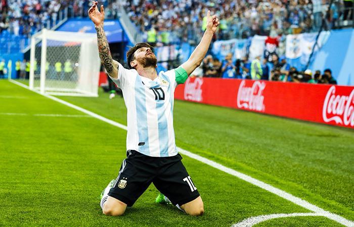 Lionel Messi y su primer gol en el Mundial. (FOTO: Twitter)