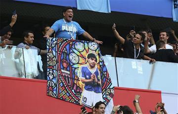 """El baile de Maradona """"incendió"""" un estadio de San Petersburgo albiceleste"""