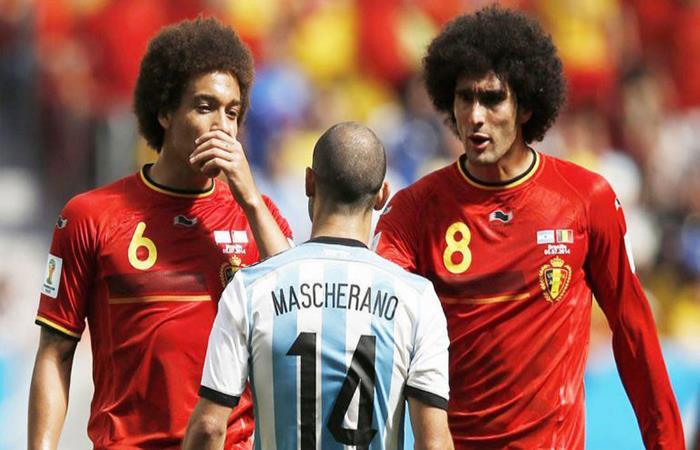 La mítica foto de Javier Mascherano ante Bélgica en el Mundial de Brasil 2014. (FOTO: AFP)